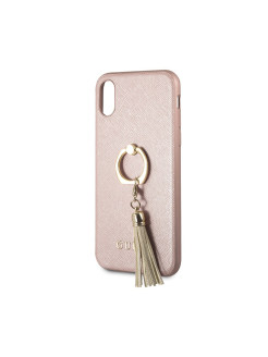 Guess для iPhone X Saffiano Hard PU + Ring Pink GUESS