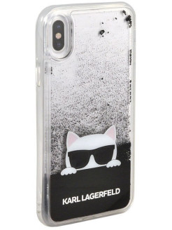 Lagerfeld для iPhone X Liquid glitter Choupette sunglasses Hard TPU Transp/Black Karl Lagerfeld