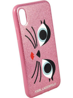 Lagerfeld для iPhone X Double layer Glam choupette Hard TPU Glitter pink Karl Lagerfeld