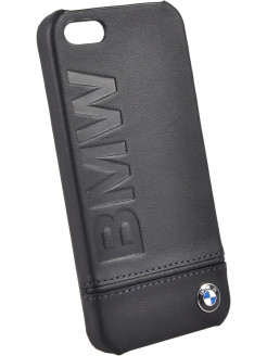 Чехол BMW для iPhone 5S/SE Signature Logo imprint Hard Leather Black BMW