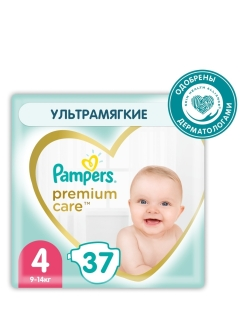Подгузники Pampers Premium Care, Размер 4, 9-14кг, 37 штук Pampers
