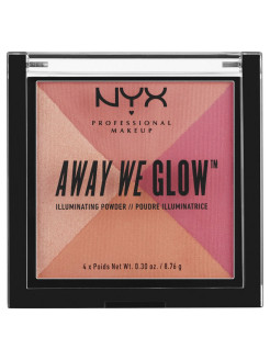 Многофункциональный хайлайтер. AWAY WE GLOW ILLUMINATING POWDER - CRUSHED ROSE 05 NYX PROFESSIONAL MAKEUP