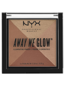 Многофункциональный хайлайтер. AWAY WE GLOW ILLUMINATING POWDER - BRICK ROAD 06 NYX PROFESSIONAL MAKEUP