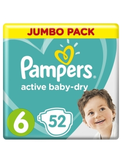 Подгузники Pampers Active Baby Dry 13-18 кг, размер 6, 52 шт Pampers
