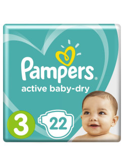 Подгузники Pampers Active Baby Dry 6-10 кг, размер 3, 22 шт Pampers
