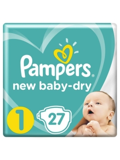 Подгузники Pampers New Baby Dry 2-5 кг, размер 1, 27 шт Pampers
