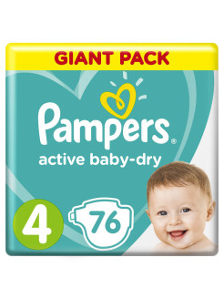 Подгузники Pampers Active Baby Dry 9-14 кг, размер 4, 76 шт Pampers