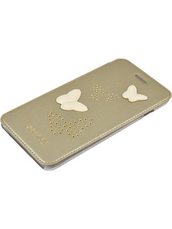 Чехол для iPhone 7Plus/8Plus Studs&Sparkles Booktype PU/Butterflies Beige GUESS