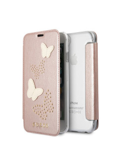 Чехол для iPhone 7/8 Studs&Sparkles Booktype PU/Butterflies Rose gold GUESS