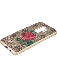Чехол для Samsung Galaxy S9+ Flower desire 4G Hard PU/roses Brown GUESS