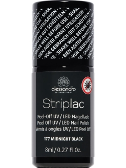 Гель лак Striplac, 8 мл. Midnight Black alessandro