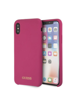 Чехол для iPhone X Silicone collection Gold Logo Pink GUESS