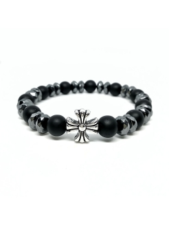 Браслет CHrome hearts 3 BW black wood