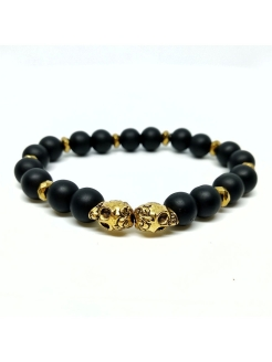 Браслет Skull Gold BW black wood