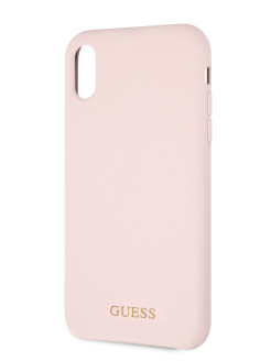 Чехол Guess для iPhone XR Silicone collection Gold logo Hard Light pink GUESS