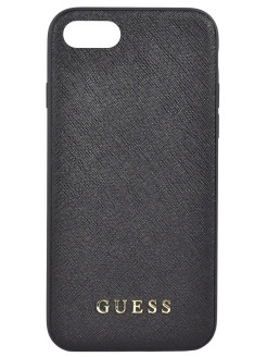 Чехол для iPhone 7/8 Silicone Saffiano Hard Black GUESS