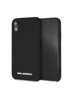 Чехол Lagerfeld для iPhone XR Silicone collection Silver logo Hard Black Karl Lagerfeld