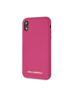 Чехол Lagerfeld для iPhone XR Silicone collection Gold logo Hard Pink Karl Lagerfeld