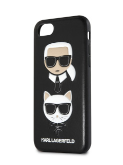 Чехол Lagerfeld для iPhone 7/8 Embossed Karl and Choupette Hard PU Black Karl Lagerfeld