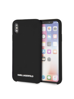 Чехол Lagerfeld для iPhone X/XS Silicone collection Silver logo Hard Black Karl Lagerfeld