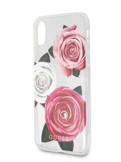 Чехол Guess для iPhone XS Max Flower Desire Hard Transparent/Tricolor roses GUESS