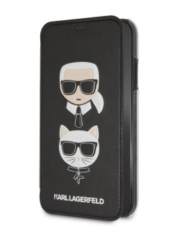 Чехол Lagerfeld для iPhone XR PU Leather Karl and Choupette Booktype Black Karl Lagerfeld
