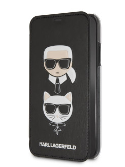 Чехол Lagerfeld для iPhone 7/8 PU Leather Karl and Choupette Booktype Black Karl Lagerfeld