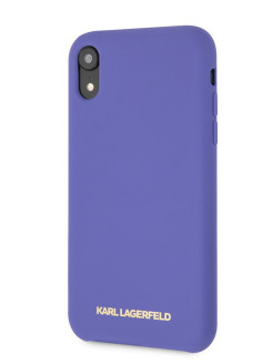 Чехол Lagerfeld для iPhone XR Silicone collection Gold logo Hard Violet Karl Lagerfeld