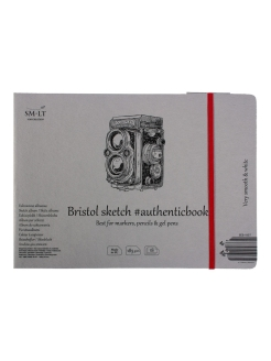 Скетчбук SM-LT Authentic Bristol с резинкой 24,5x17,9 см 18л 185 г/м2 экстрабелый, сшивка SM-LT