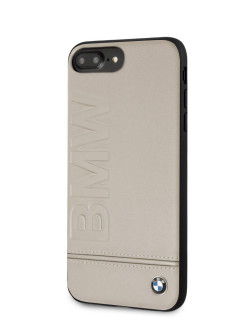 Чехол для iPhone 7Plus/8Plus Signature Logo imprint Hard Leather Taupe BMW