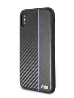 Чехол для iPhone X/XS M-Collection Carbon inspiration Hard PU Black/Navi BMW
