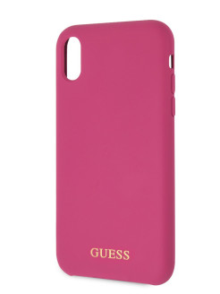 Чехол для iPhone XR Silicone collection Gold logo Hard Pink GUESS