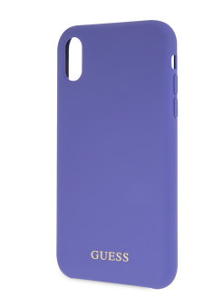 Чехол для iPhone XR Silicone collection Gold logo Hard Purple GUESS