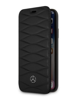 Чехол Mercedes для iPhone X/XS Pattern lll Booktype Leather Black MERCEDES-BENZ