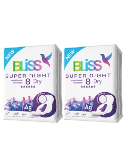 Прокладки DRY SUPER NIGHT 8 шт х 2 уп Bliss!