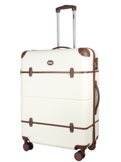 Suitcase with leather straps Tour Vintage, on 4 wheels, large L, 98 L, 76 cm PROFFI