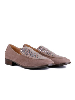 Слиперы METALL BEIGE RABBIT LOAFERS