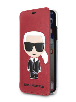 Чехол Lagerfeld для iPhone X/XS PU Leather Iconic Karl Booktype Red Karl Lagerfeld