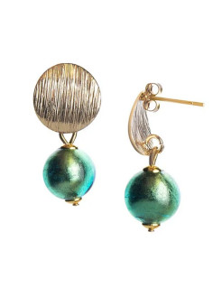 Серьги Perla Metallo Rotondo Grande Light Aqua Gold Bottega Murano