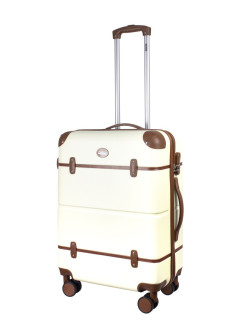 Suitcase with leather straps Tour Vintage, on 4 wheels, medium M, 62 L, 66 cm PROFFI