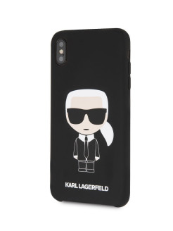 Чехол для iPhone XS Max Liquid silicone Iconic Karl Hard Black Karl Lagerfeld