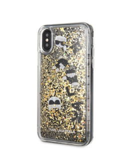 Чехол для iPhone X/XS Liquid glitter Floatting charms Hard Black/Gold Karl Lagerfeld