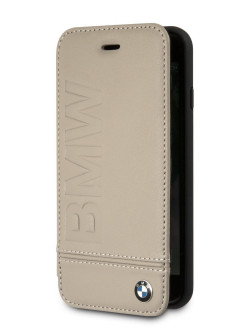 Чехол для iPhone 7/8 Signature Logo imprint Booktype Leather Taupe BMW