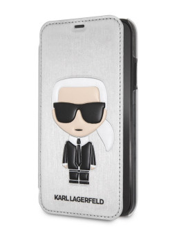 Чехол для iPhone XR PU Leather Iconic Karl Booktype Silver Karl Lagerfeld