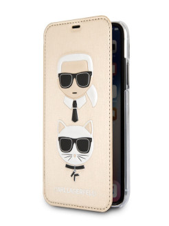 Чехол для iPhone X/XS PU Leather Karl and Choupette Booktype Gold Karl Lagerfeld