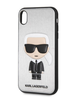 Чехол для iPhone XR PU Leather Iconic Karl Hard Silver Karl Lagerfeld