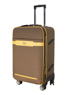 TOUR RETRO eco-leather suitcase with straps, on 4 wheels, medium M, 65 l, 69 cm PROFFI
