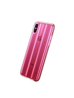 Чехол-накладка Apple iPhone X Baseus Aurora Transparent Pink BASEUS