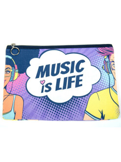 "Travel cosmetic bag ""Music is life"" XTime"