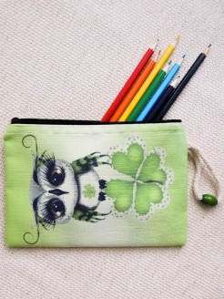 "Cosmetic bag ""Green clover for good luck"" XTime"
